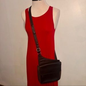 Fossil Leather and Nylon Brown Crossbody Bag